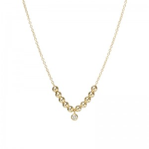 Zoe Chicco bezel diamond and beaded chain necklace
