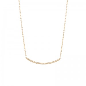 Zoe Chicco curved bar necklace with 5 french set diamonds