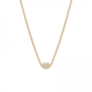 Zoe Chicco small marquise diamond eye with pavé diamond halo necklace