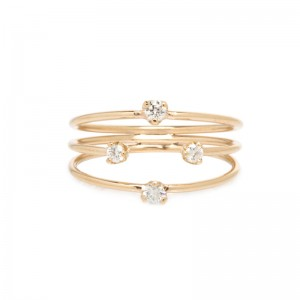 Zoe Chicco 3 thin band mixed size prong diamond ring