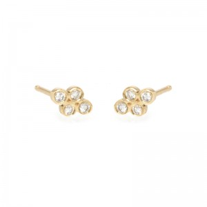 Zoe Chicco tiny quad diamond set stud earrings