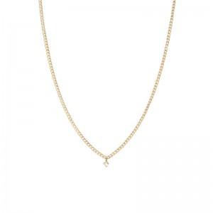 Zoe Chicco x-small curb chain necklace with a single dangling prong set white diamond
