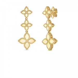 Roberto Coin Yellow Gold Princess Flower Drop Earrings
