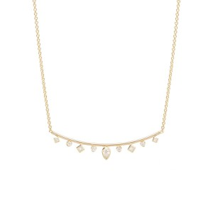 Zoe Chicco Bezel Set Diamond Curved Bar Necklace