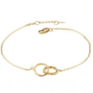Gold Double Twist Interlocking Link Bracelet