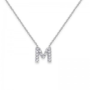 Bitty Block Diamond Initial Necklace