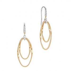 18K Yellow Gold and Diamond Double Concentric Hook Earrings