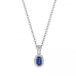 Oval Halo Sapphire and Diamond Necklace