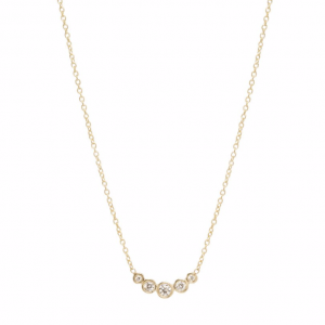 Zoe Chicco 5 graduated curved diamond bezel necklace