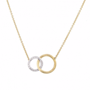 Marco Bicego 18K Yellow Gold Jaipur Link Collection Small Pendant Necklace With Diamonds .14Ctw 16.5