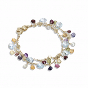 Marco Bicego Paradise Collection 18K Yellow Gold Blue Topaz and Mixed Gemstone Double Strand Bracelet