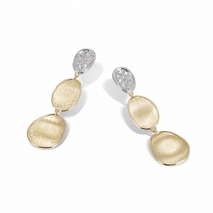 Marco Bicego Lunaria Collection 18K Yellow Gold and Diamond Petite Triple Drop Earrings