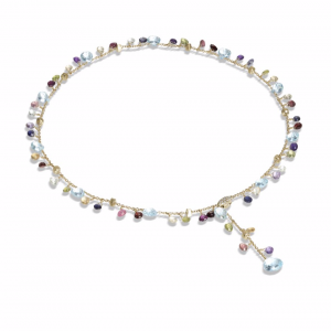 Marco Bicego® Paradise Collection 18k Yellow Gold Blue Topaz and Mixed Gemstone Lariat Necklace