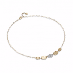 Marco Bicego Lunaria Collection 18K Yellow Gold and Diamond Petite Half Collar Necklace