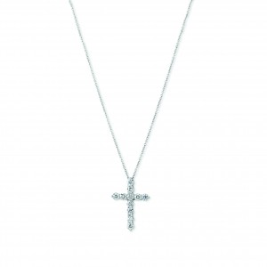Small Diamond & White Gold Cross Pendant