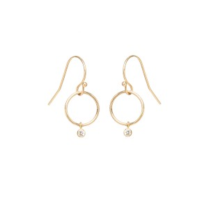Zoe Chicco Diamond Tiny Drop Circle Earrings .06ctw