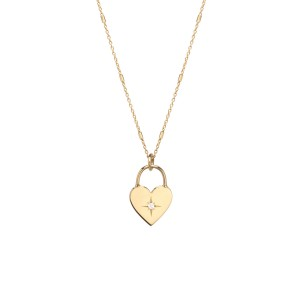 Zoe Chicco Small Padlock Necklace W/ Single Star Set Diamond