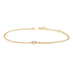 Zoe Chicco Curb Chain Bracelet With Single Diamond
