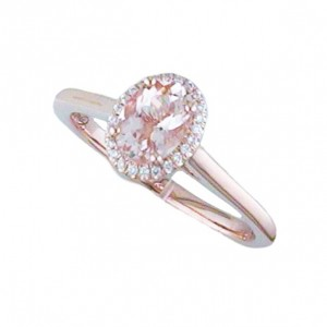 .68Ct Morganite With .06Ctw E Diamond Halo Ring  In 14K Rose Gold