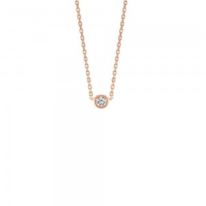 PD Collection 14k Rose Gold Diamond Solitaire Pendant