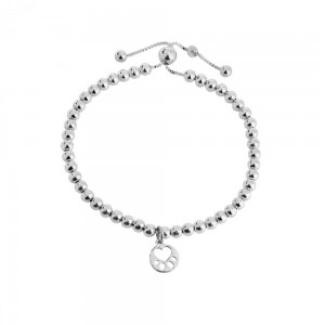 Silver Beaded  Mini Paw Bracelet