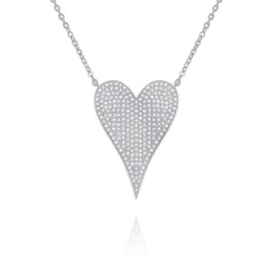 PD Collection 14k White Gold and Pave Diamond Large Heart Necklace