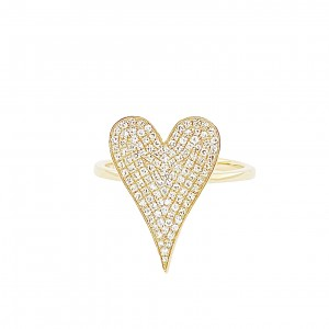 PD Collection 14k Gold and Pave Diamond  Heart Ring