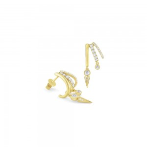 PD Collection 14k Gold and Diamond Huggie Earrings