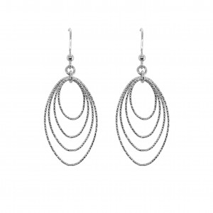 PDC Ss Sparkly Fun Graduated Diamond Cut Oval Drop Earrings
