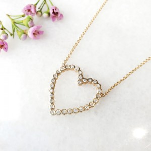 Zoe Chicco Open Bezel Set Diamond Heart Necklace